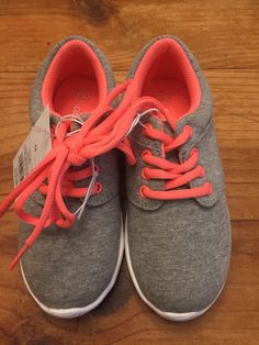 481afd614ae3ec Cat   Jack Girls Size 13 M Gray SNEAKERS Lace up Shoes Neon Laces
