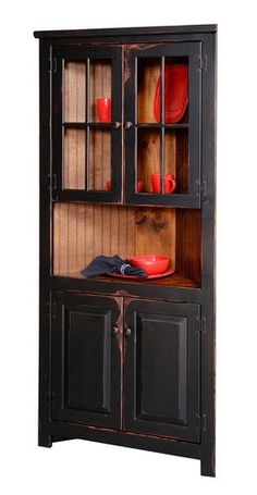 Primitive Rustic Corner Cabinet Pantry Country Kitchen Cottage Furniture Glass