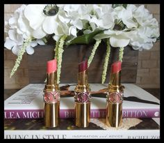 YSL Rouge Volupte Shine Lipsticks in 15 Corail Intuitive, 2 Pourpre Intouchable, 9 Nude in Private
