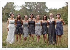 Love this miss match grey bridesmaid dresses idea