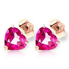Pink Topaz Heart Stud Earrings 3.25ctw in 9ct Rose Gold: Size: 7 x 7 mm (0.3 x 0.3 in) per… #Gemstones #Jewellery #GemstoneJewellery