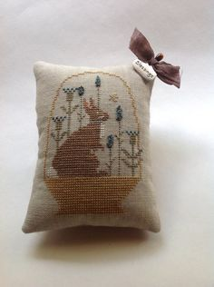 Hand stitched cross stitched springtime bunny by TheOldNeedleShop