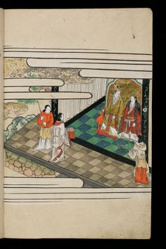 Japenese manuscript representing the Life of Buddha (Shaka no Honji). It's a Nara picture book. Young people are approaching the king / Emperor and the queen / Impress.  #Japan #Manuscript #picturebook #buddha #queen #king #empress #emperor #palace