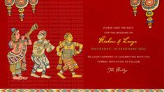 South Indian Kalamkari inspired Wedding Save the Date Card front