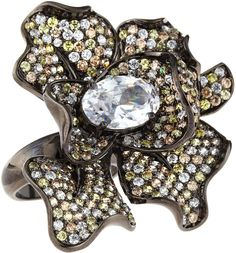 NEIMAN AND MARCUS BROOCHES KENNETH J LANE | CZ by Kenneth Jay Lane Pave Cubic Zirconia Flower Ring, Size 7 $400.00 ...