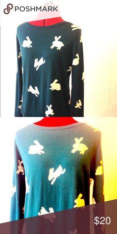Loft sweater with rabbits, dark green. Beautiful, hip sweater. Looks great with jeans! LOFT Sweaters Crew & Scoop Necks