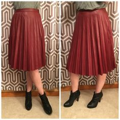 NWT Multiple Sizes pleated vegan leather skirt Brand new with tags rich wine colored pleated vegan leather skirt. Multiple sizes available! Sizes 5, 7 and 9. Please do not purchase through this listing. Please comment which size you would like and I will create a new listing. Skirts A-Line or Full