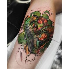 Watercolor Metroid tattoo done by @rodferod. To submit your work use the tag #gamerink And don't ...