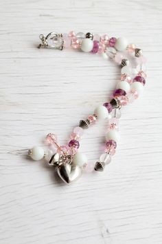 Baby pink & lilac Heart Necklace