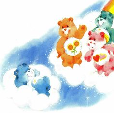 care bears clouds; children's book illustration