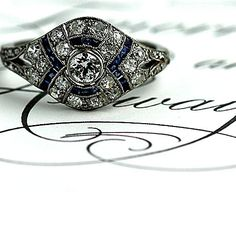 Antique Platinum Old European Cut Diamond and Sapphire Engagement Ring Circa early 1900's #weddings