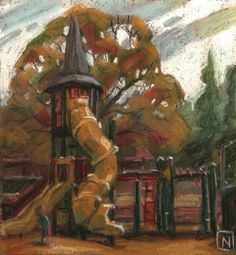 The gold of fall transforms a plastic tower into a magical kingdom. Illustration Art, Illustrations, Picture Books, Picture Design, Feature Film, Storytelling, Concept Art, Composition, Tower