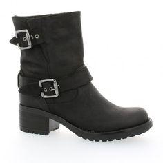 Pao chaussures boots motarde nubuck noir basique