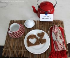 Romantic table setting for breakfast