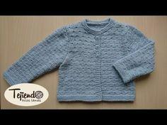 Chaqueta para bebé de 0 a 3 meses tejida en dos agujas ( 1 de 2 ) - YouTube Baby Cardigan, Cardigan Bebe, Baby Pullover, Knitting For Kids, Baby Knitting, Crochet Baby, Knit Crochet, Pull Bebe, Baby Coat