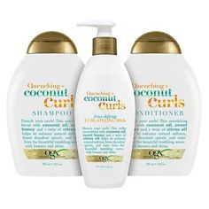 Discover recipes, home ideas, style inspiration and other ideas to try. Curl Shampoo, Shampoo For Curly Hair, Good Shampoo And Conditioner, Curly Hair Care, Curly Hair Styles, Products For Curly Hair, Ogx Shampoo, Coconut Conditioner, Curly Girl