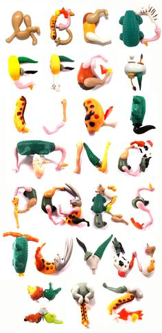 """This was the alphabet made up of """"Found Objects"""" which happened to be my friends little plastic toy collection from a Kinder Egg."""