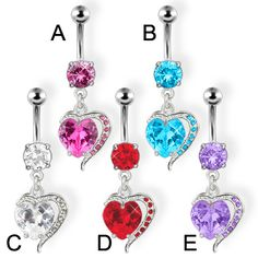 Hearts and gems Belly Button Piercing Jewelry, Heart Piercing, Dangle Belly Rings, Navel Piercing, Belly Button Rings, Piercings, Modern Jewelry, Body Jewelry, Jewelry Collection