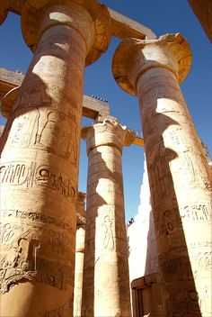 Egyptian Columns at the Karnak Temple Complex,