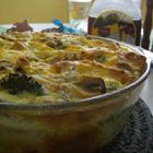 Breakfast Strata. So damned good and great for party brunch because you have to make it the day before.