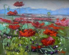 8x10 Oil Landscape Field of Poppies Painting by CarolSchiffStudio, $149.95