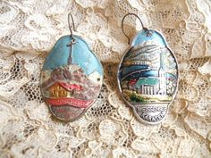 distressed tin earrings religious mismatch by lilyofthevally