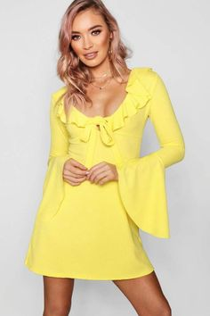 855d3f42c55 yellow-round-neck-flare-sleeve-elastic-waist-solid-color-mini-dress ...