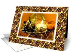 Thank You For The Christmas Gift-Candle-Pine Cone-Gold Ribbons Card. Thank you customer in Idaho!