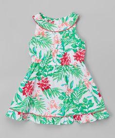 Love this Green Tropical Floral Dress - Toddler & Girls on #zulily! #zulilyfinds