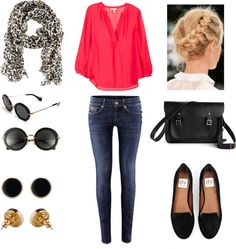 """""""Blouse + Skinny Low Jeans + Loafer"""" by vale-ferrufino on Polyvore"""