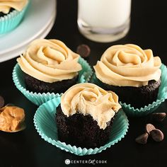 Chocolate Cupcakes with Peanut Butter Frosting (uses sour cream and vinegar). makes 24 cupcakes or 3-layer cake