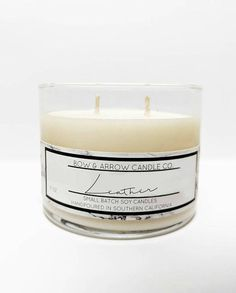 15 oz Natural Soy Candle Leather Scented 15 oz Double Wick