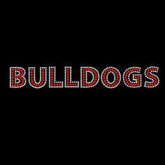 Bulldogs Red Iron On Rhinestone Bling Transfer - $7.95