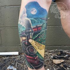 #train #tattoo by Carlos Fuentes @carlosmfuentesjr @mysticowltattoo in Marietta GA Booking Inquiries:  Appointment@mysticowltattoo.com  #illustration #color #leg #sleeve #tattoo #neotat #mysticowltattoo #tattoos #tattooed #tattoolife #tattooedlife #tattooart #tattooartist #ink #inked #inkedup #inkedlife #supportgoodtattooers #tattoocloud #tattooartistmagazine