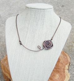 Oxidized. Copper. Wire. Rose. Necklace.