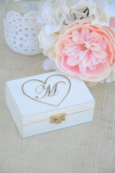 Personalized Rustic chic ring bearer box- monogram ring bearer box on Etsy, $32.00