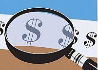Free Dollar magnifier Illustration