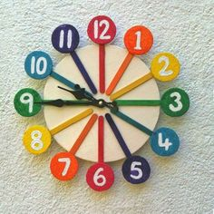 Colorful Clock Made From Popsicle Sticks