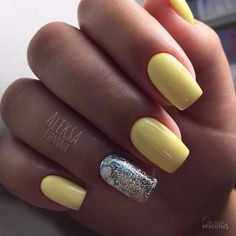 Pastel Yellow with Silver Touch Nail Art Design. Shinny and yellow – the perfect summer thing.