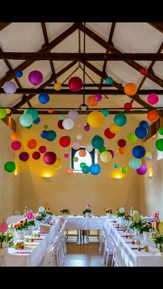 Multi coloured paper lanterns.. perfect for anything that needs to say 'festive'