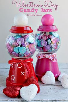 I love Valentine's Day crafts for adults, so I made this DIY Valentine's Day Candy Jars tutorial. A sweet and delicious Valentine's Day gift for friends, for boyfriends,  for kids or for yourself. It may become one of your favorite and yummiest Valentine's Day decorations!  via @eatmovemake