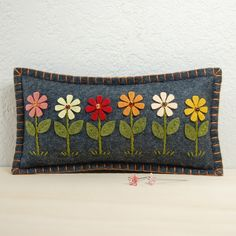 Daisy Garden Wool Felt Pincushion | by TheBlueDaisy
