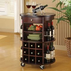 Monarch Specialties Round Bar Serving Cart In Cappuccino | modGSI