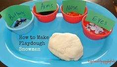 Snowmen from White Glitter Playdough. Another fun way to play with playdough in the classroom! Love it!