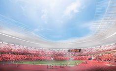 Vista desde el estadio. Estadio Nacional de Tokio para los Juegos Olímpicos 2020, proyecto por Kengo Kuma. Imagen © Kengo Kuma. Señala encima de la imagen para verla más grande.