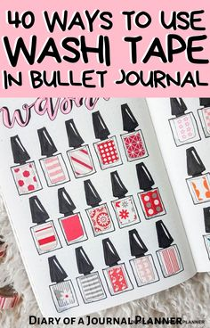 These are the 40 best ways to use Washi Tape in your bullet journal, from swatch spreads to fixing mistakes to creating simple layouts. #washitape #washitapeideas #Bulletjournalwashitape #bulletjournalideas Bullet Journal Washi Tape, Bullet Journal Font, Bullet Journal Printables, Bullet Journals, Washi Tape Wall, Washi Tape Crafts, Bullet Journal For Beginners, Calendar Journal, Washi Tape Planner