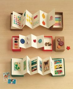 Accordion Boxes: Small cardboard jewelry boxes are a natural choice for contain. - Accordion Boxes: Small cardboard jewelry boxes are a natural choice for containing whatever tiny t - Book Crafts, Diy And Crafts, Craft Projects, Crafts For Kids, Arts And Crafts, Craft Ideas, Matchbox Crafts, Matchbox Art, Accordion Book