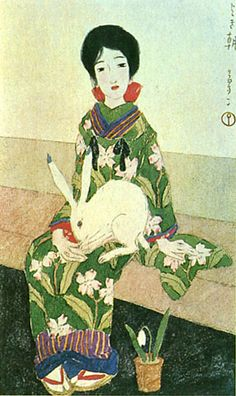 Japan antique art by Yumeji Takehisa (taisyou period) Japanese Folklore, Japanese Textiles, Japanese Prints, Art Occidental, Year Of The Rabbit, Japan Art, Japanese Culture, Ikebana, Antique Art