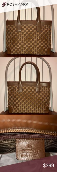 1826531a35b7 Authentic Gucci GG Monogram Canvas Tote. Beautiful tote. One owner. Canvas  in great
