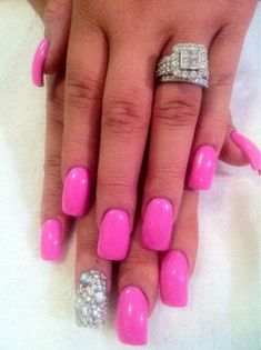 Fuschia nail art